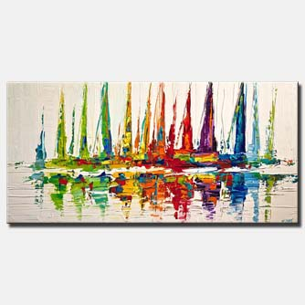 canvas print of colorful sailboats painting on white background modern palette knife