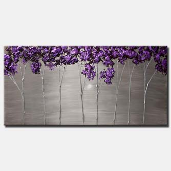 canvas print of purple blooming trees on silver background modern palette knife painting