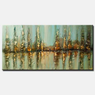 canvas print of blue abstract city textured modern palette knife