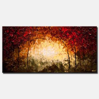 canvas print of modern palette knife painting Blooming Tree Landscape