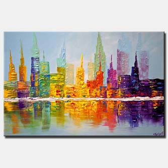 colorful city art modern palette knife abstract city