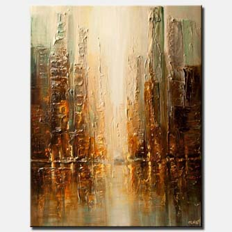 canvas print of contemporary abstract city painting heavy impasto textured