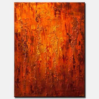 canvas print of large contemporary orange abstract painting heavy texture modern palette knife