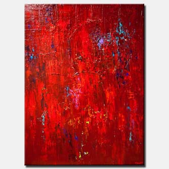 canvas print of huge large red abstract painting modern palette knife