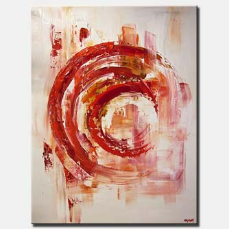 canvas print of contemporary red white abstract painting textured palette knife
