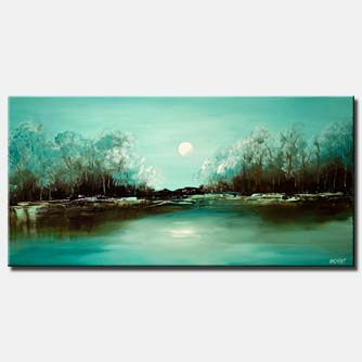 canvas print of turquoise landscape abstract paiting blooming trees