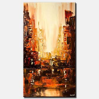 canvas print of city painting orange brown city abstract textured painting