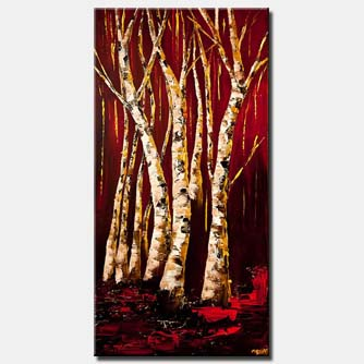 canvas print of gold birch trees landscape painting red abstract painting