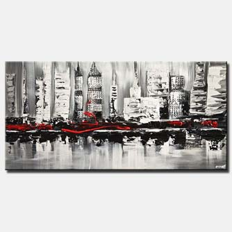 canvas print of abstract city painting textured white black red abstract painting