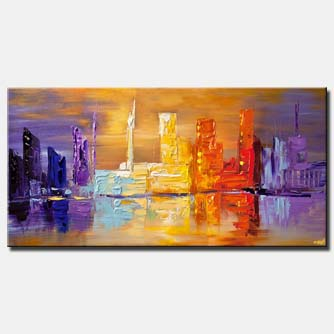 canvas print of downtown city abstract painting modern palette knife