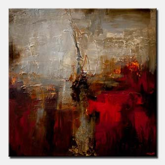 white red contemporary abstract painting