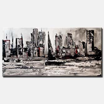 city skyline boat abstract painting white black