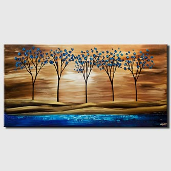 canvas print of blue brown landscape tree textured print on canvas