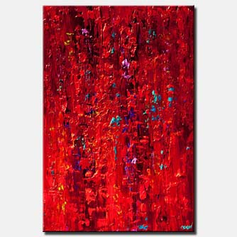 original contemporary red abstract painting modern palette knife red acrylic abstract