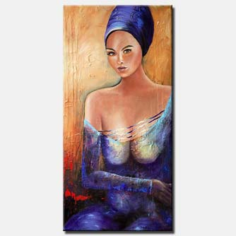 canvas print of figure painting woman blue purple textured painting