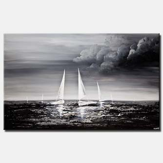 sailboats sea textured painting black gray white home decor