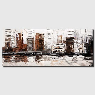 the white house city painting heavy texture white black bronze silver