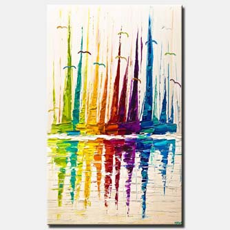 abstract sail boats painting colorful modern palette knife textured painting