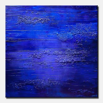 blue textured abstract painting home decor art deco
