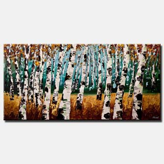 canvas print of silver birch trees painting modern palette knife