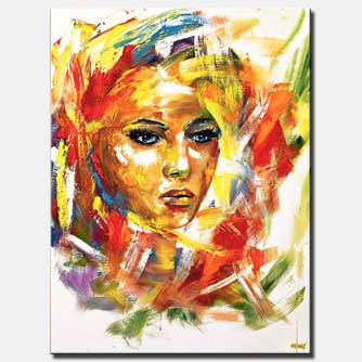 canvas print of colorful woman portrait painting on white