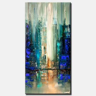 canvas print of city lights blue abstract painting