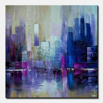 canvas print of purple blue city abstract painting