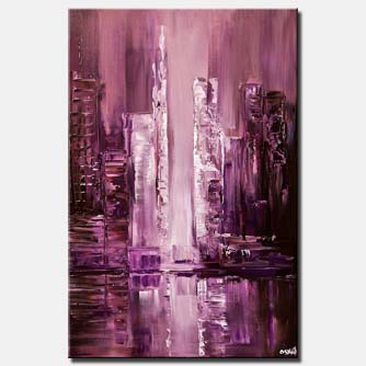 canvas print of purple city abstract painting