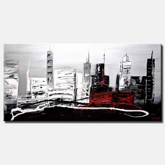 canvas print of original contemporary black white abstract painting