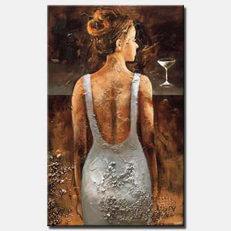 canvas print of textured woman figure painting bronze painting