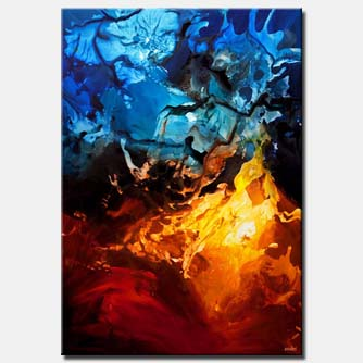 blue red contemporary abstract art home decor