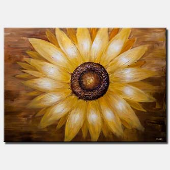 canvas print of original modern abstract sunflower painting textured sunflower painting