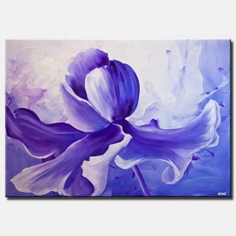 canvas print of modern purple Iris flower painting