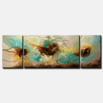canvas print of huge contemporary turquoise abstract art