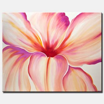 canvas print of white pink flower modern art home decor