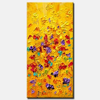 colorful floral painting modern palette knife heavy texture wall decor