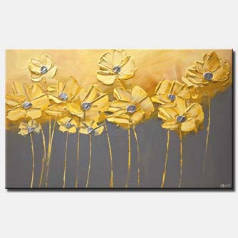 canvas print of yellow gray flowers gray background painting home decor art