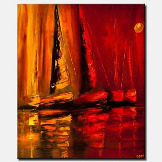 modern palette knife sailboats home decor