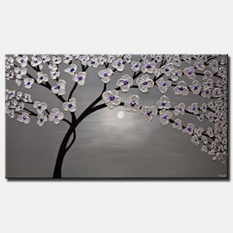 canvas print of purple silver gray blooming tree painting heavy textured