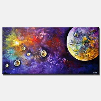 planets abstract painting textured