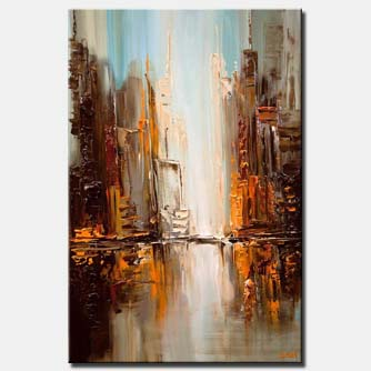 modern downtown painting textured abstract city painting