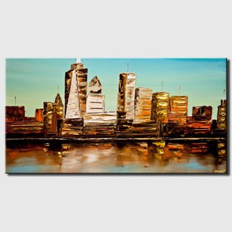 canvas print of modern nyc downtown painting modern palette knife