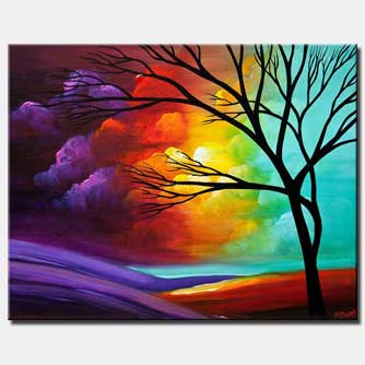 canvas print of modern landscape tree painting