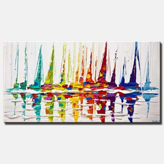 canvas print of sailboats painting colorful palette knife art