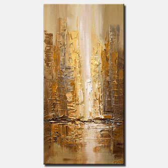 canvas print of modern brown city abstract painting