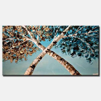 canvas print of modern palette knife blooming birch trees painting