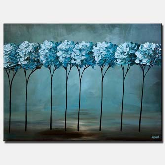 canvas print of teal blooming trees painting