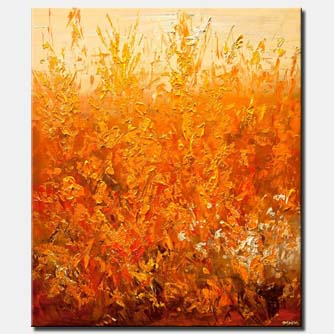 orange cream floral abstract painting modern palette knife