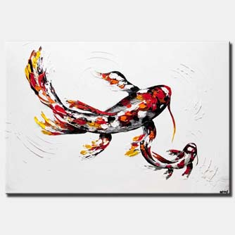 red koi fish painting large koi fish art