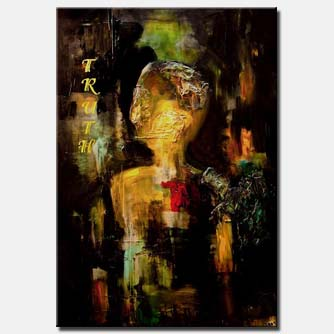canvas print of black textured abstract painting